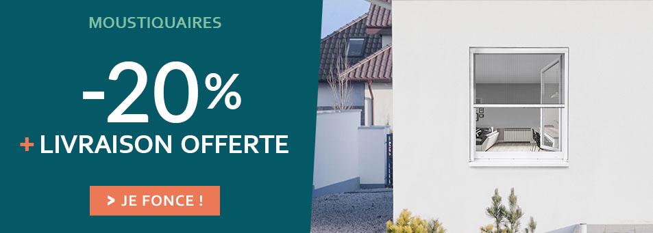 20% + Livraison offerte sur les moustiquaires